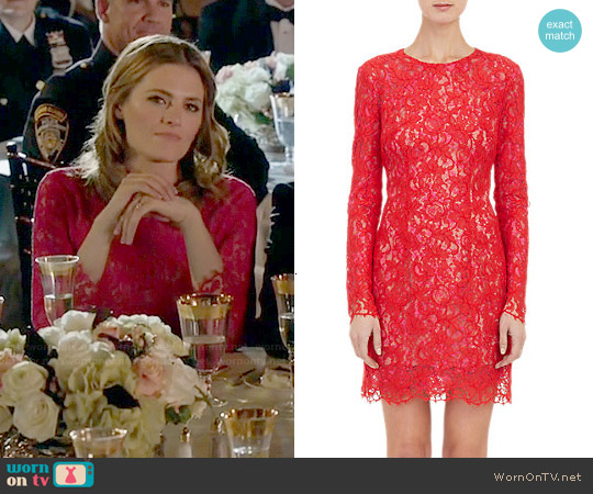 Monique Lhuillier Guipure Lace Cocktail Dress worn by Stana Katic on Castle
