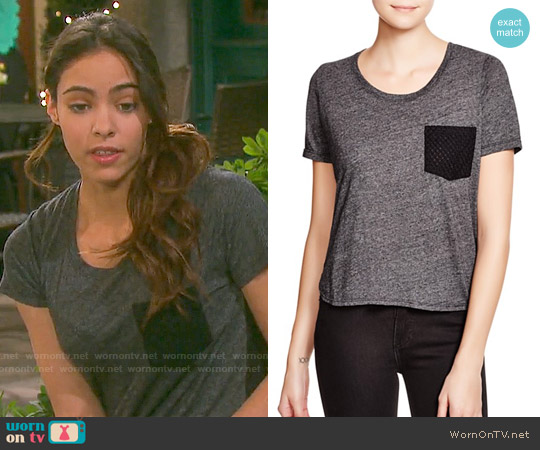 Monrow Eyelet Pocket Tee worn by Vivian Jovanni on Days of our Lives