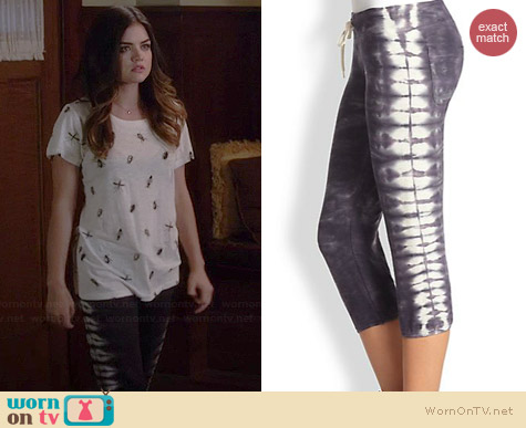 Monrow Tie Dye Cropped Sweatpants worn by Lucy Hale on PLL