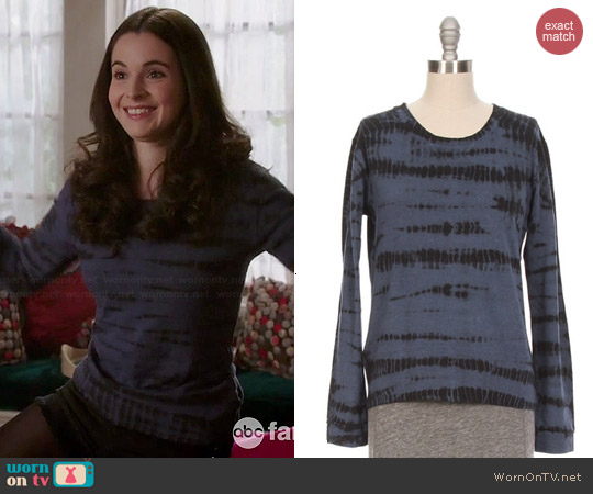 Monrow Tiger Tie Dye Sweatshirt worn by Vanessa Marano on Switched at Birth