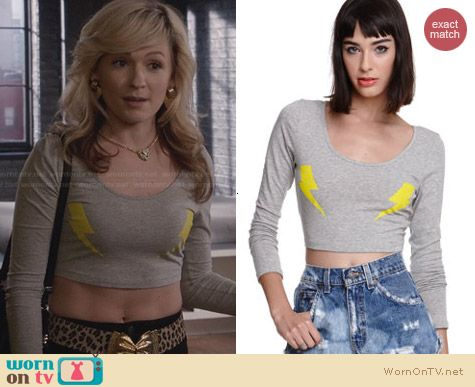 Morning Warrior Two Bolts Cropped TShirt worn by Lindsey Gort on The Carrie Diaries