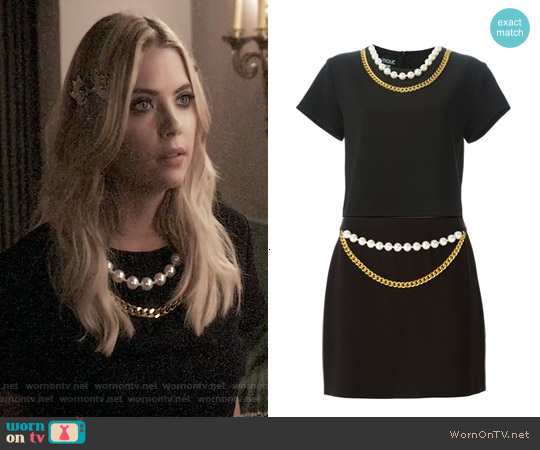 Boutique Moschino Chain and Faux Pearl Trim Top and Skirt worn by Ashley Benson on PLL
