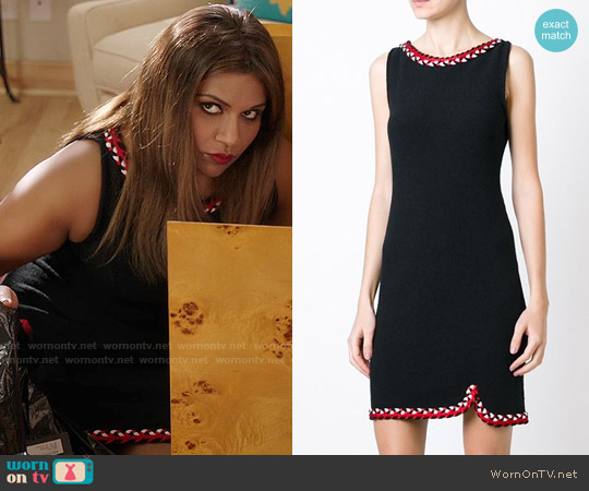 Boutique Moschino Sleeveless Dress with Braided Details worn by Mindy Kaling on The Mindy Project
