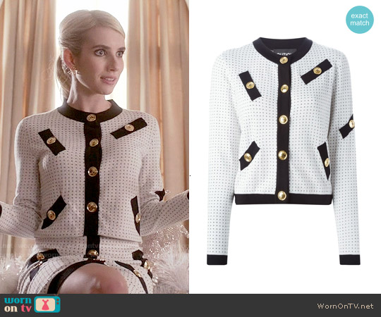 Boutique Moschino Buttoned Polka Dot Cardigan worn by Emma Roberts on Scream Queens