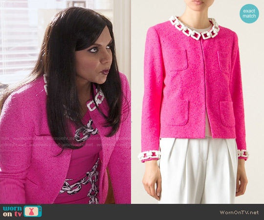 Moschino Chain Trim Boucle Jacket worn by Mindy Lahiri on The Mindy Project