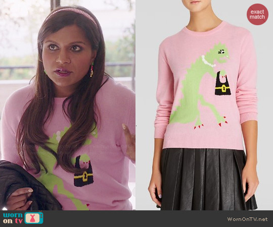 Moschino Cheap & Chic Dinosaur with Bag Graphic Cashmere Sweater worn by Mindy Kaling on The Mindy Project