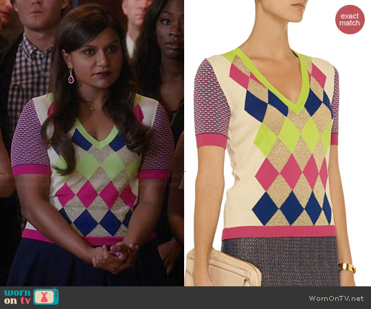 Moschino Cheap & Chic Metallic Argyle Sweater worn by Mindy Kaling on The Mindy Project