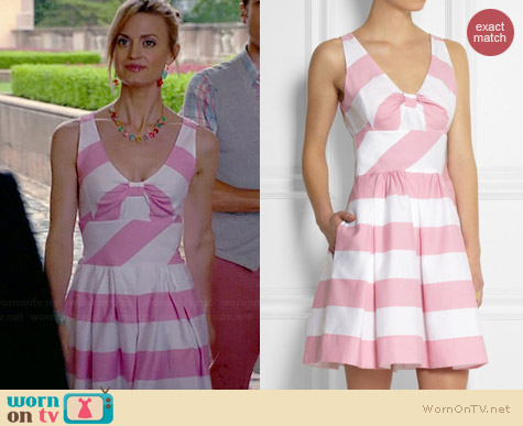 Moschino Cheap & Chic Pink Striped Dress worn by Brooke D'Orsay on Royal Pains