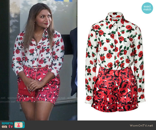 Moschino Floral Print Playsuit worn by Mindy Kaling on The Mindy Project