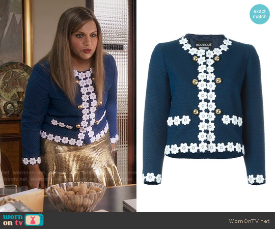 Boutique Moschino Flower Trimmed Cropped Jacket worn by Mindy Kaling on The Mindy Project
