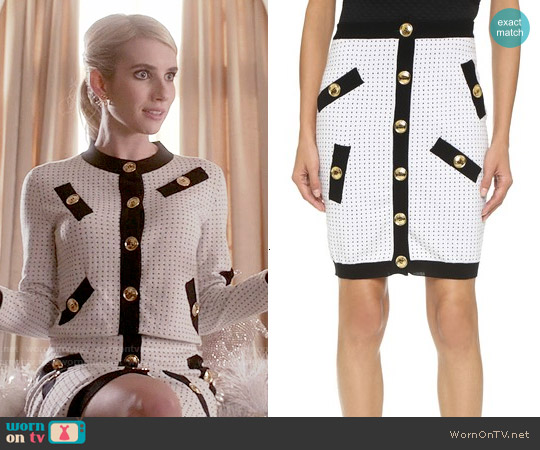 Boutique Moschino Knit Pencil Skirt worn by Chanel Oberlin on Scream Queens