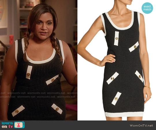 Moschino Polka Dot Stretch Knit Mini Dress worn by Mindy Kaling on The Mindy Project