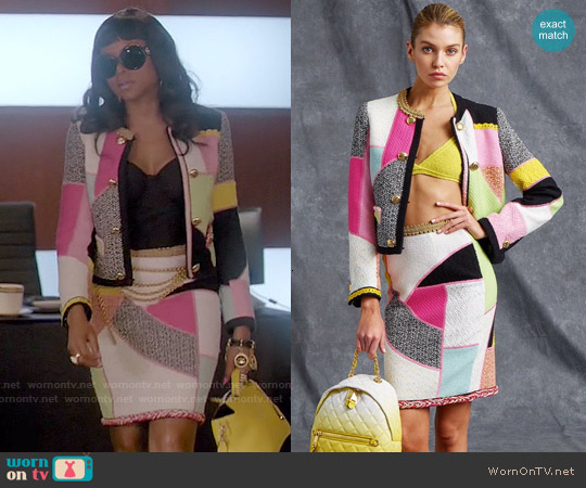 Moschino Resort 2015 Colorblock Jacket and Skirt Set worn by Taraji P. Henson on Empire