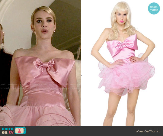 Moschino Ruffled Cotton Duchesse Dress worn by Emma Roberts on Scream Queens
