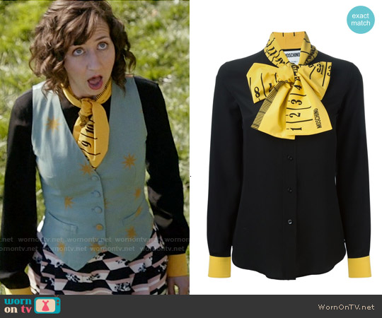 Moschino Ruler Pussybow Blouse worn by Kristen Schaal on Last Man On Earth