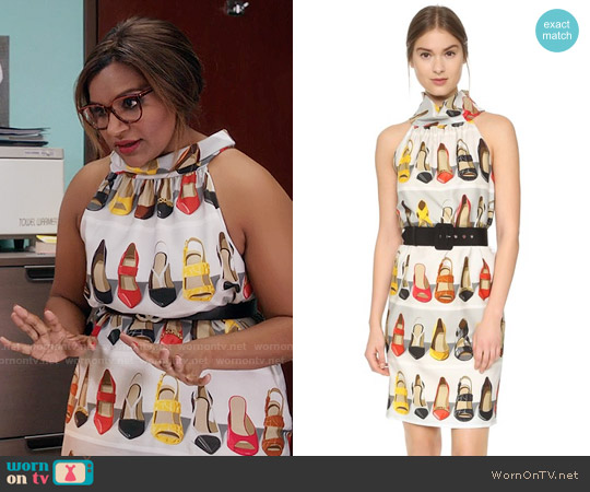 Moschino Shoe Print Dress worn by Mindy Kaling on The Mindy Project