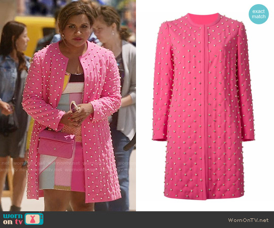 Moschino Strass Quilted Coat worn by Mindy Lahiri on The Mindy Project
