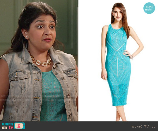 Mossimo Burnout Bodycon Midi Dress in Sea Going worn by Punam Patel on Kevin from Work