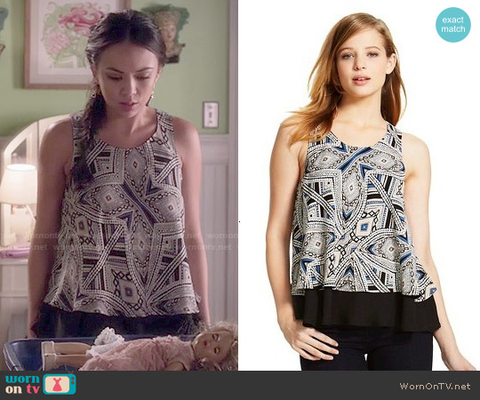 Mossimo Double Layer Flounce Blouse worn by Janel Parrish on PLL
