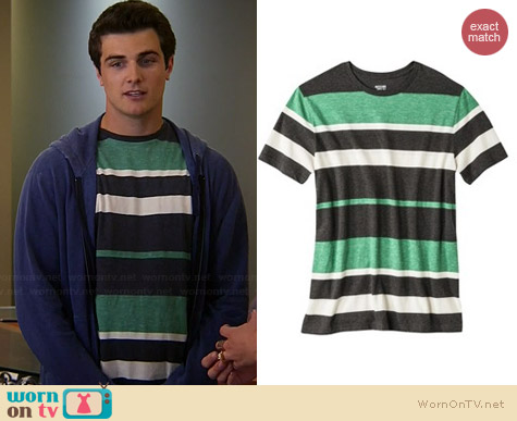 Mossimo Green Shakra Striped Tee worn by Beau Mirchoff on Awkward