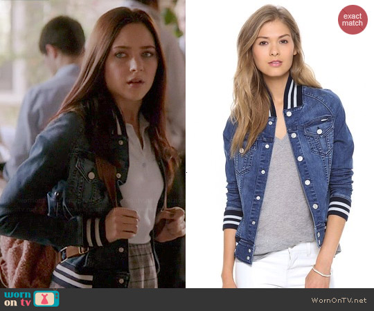 Mother Letterman Bully Jacket worn by Haley Ramm on Chasing Life