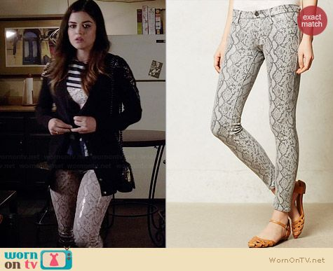 Mother Looker Skinny Jeans in Rattlesnake worn by Lucy Hale on PLL