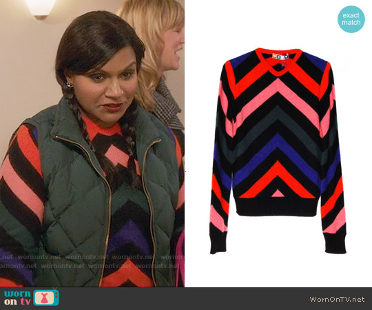 MSGM Chevron Striped Mohair Sweater worn by Mindy Kaling on The Mindy Project