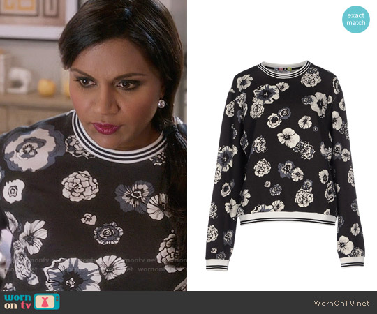 MSGM Floral Sweatshirt worn by Mindy Kaling on The Mindy Project