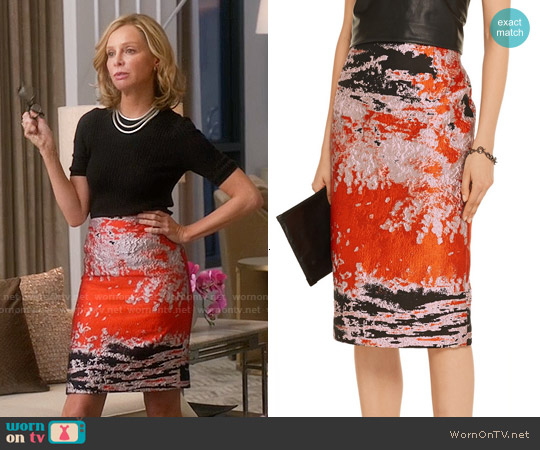 MSGM Jacquard Midi Skirt worn by Calista Flockhart on Supergirl