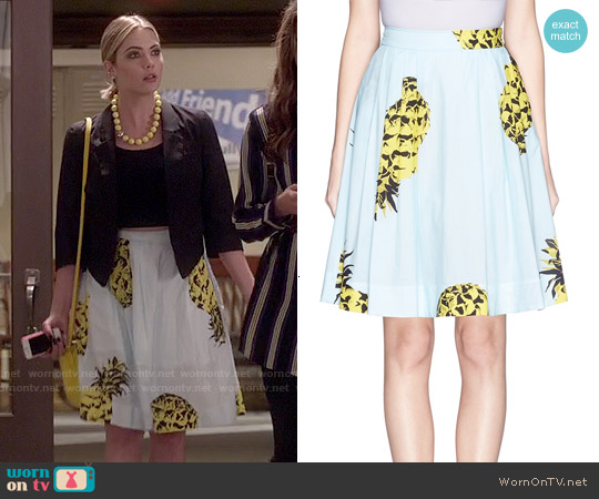 MSGM Pineapple Print Full Cotton Skirt worn by Ashley Benson on PLL