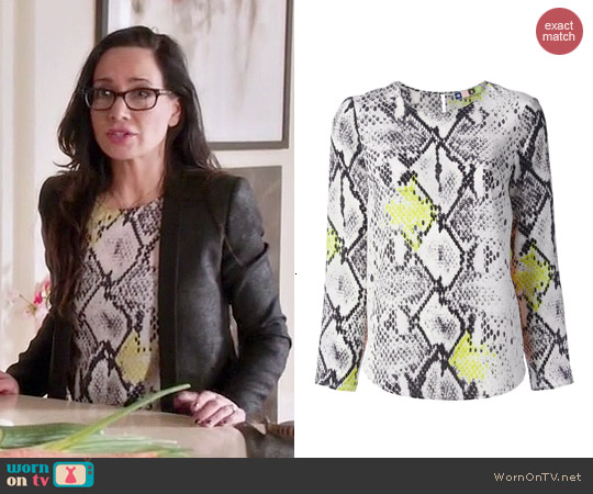 MSGM Python Print Blouse worn by Janeane Garofalo on GG2D