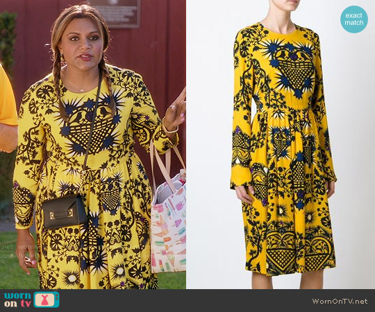 MSGM Sacred Heart Print Dress worn by Mindy Kaling on The Mindy Project