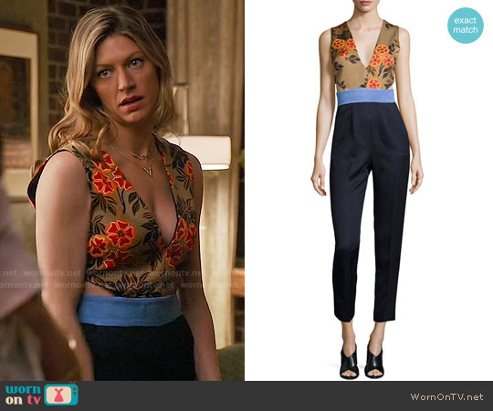 MSGM Sleeveless Floral-Combo Colorblock Jumpsuit worn by Jes Macallan on Mistresses