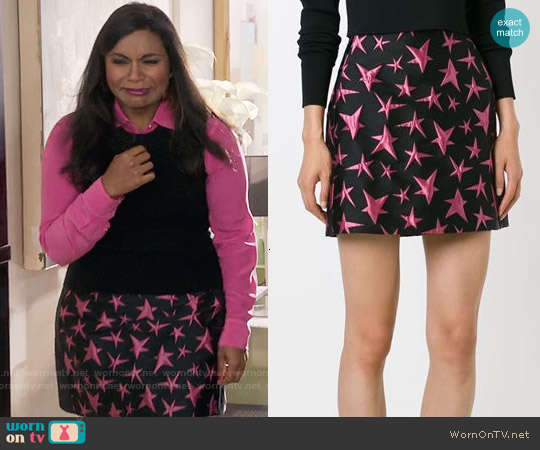 MSGM Star Embroidered Skirt worn by Mindy Kaling on The Mindy Project
