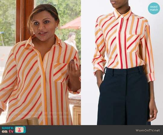 MSGM Striped Shirt worn by Mindy Kaling on The Mindy Project