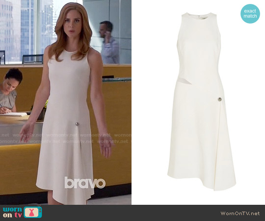 Mugler Asymmetric cutout crepe dress worn by Sarah Rafferty on Suits