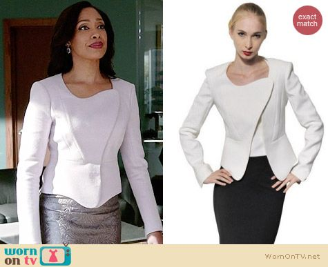 Mugler Cotton Faille Asymmetric Jacket worn by Gina Torres on Suits