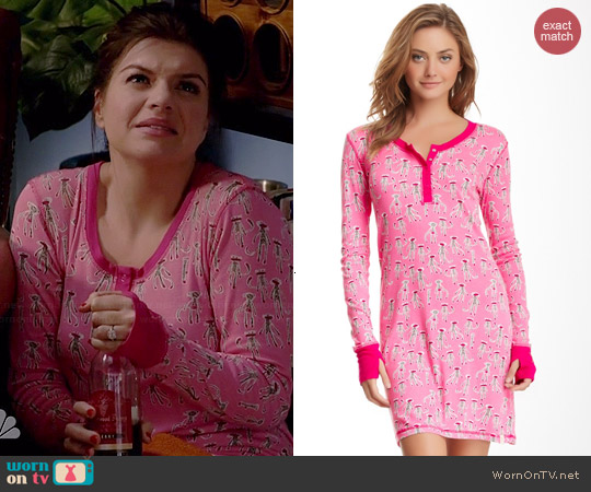 Munki Munki Henley Night Shirt in Sock Monkey Pink worn by Casey Wilson on Marry Me