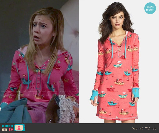 Munki Munki Hooded Henley Sleepshirt worn by G. Hannelius on Dog with a Blog