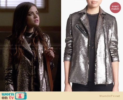 Mural Sequin Bomber Jacket worn by Lucy Hale on PLL