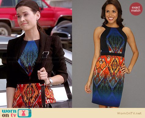 Muse Printed Twill Fitted Dress worn by Raquel on Chasing Life
