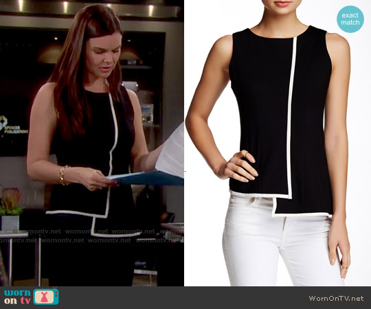 My Tribe Leather Trim Asymmetrical Peplum Tank worn by Heather Tom on The Bold & the Beautiful