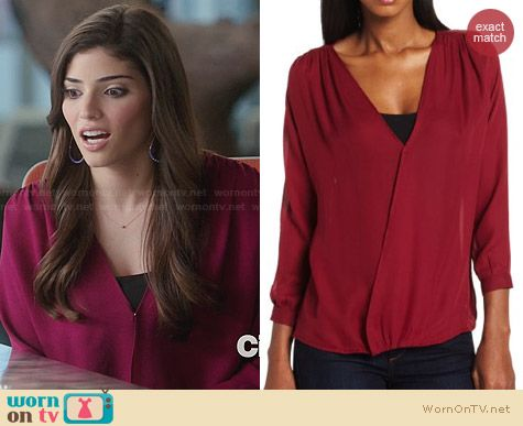 Myne Selene Crossover Blouse in Berry worn by Amanda Setton on The Crazy Ones