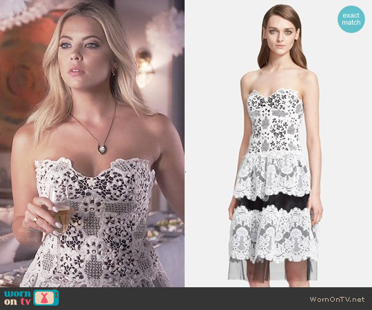 Naeem Khan Mixed Lace Strapless Dress worn by Ashley Benson on PLL