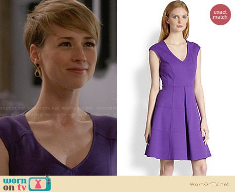 Nanette Lepore Pueblos Dress in Purple worn by Karine Vanasse on Revenge