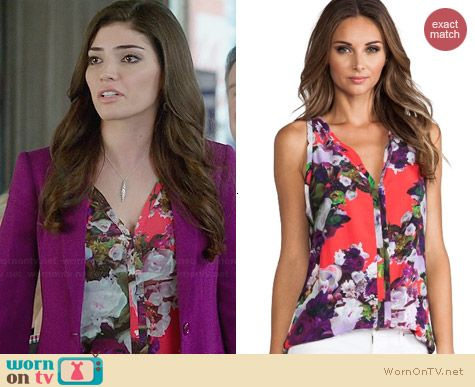 Nanette Lepore Crazy For You Top in Campari worn by Amanda Setton on The Crazy Ones