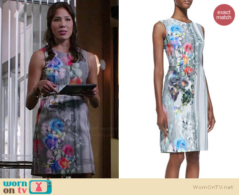 Nanette Lepore Graphic Floral Dress worn by Michaela Conlin on Bones