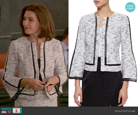 Nanette Lepore Graphic Tweed Jacket worn by Julianna Margulies on The Good Wife
