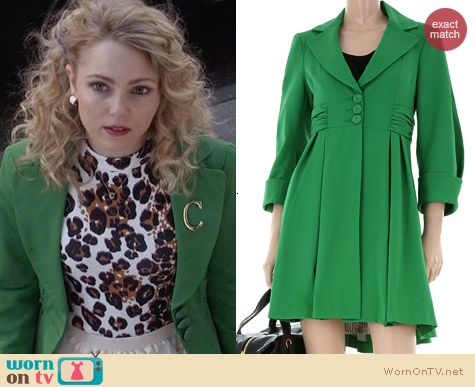 Nanette Lepore Green Ferry Boat Coat worn by AnnaSophia Robb on The Carrie Diaries