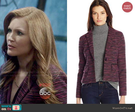 Nanette Lepore Interwoven Striped Tweed Jacket in Orchid worn by Darby Stanchfield on Scandal